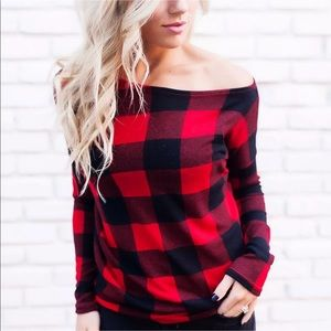 Tops - Plaid deep scoop neck ling sleeve top